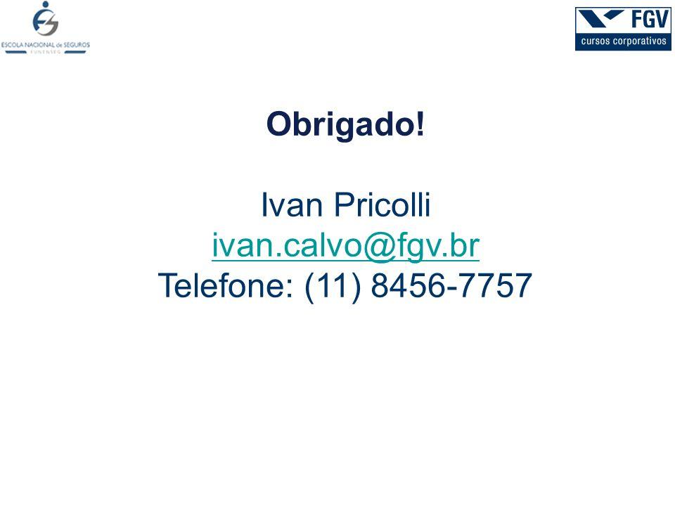 Obrigado! Ivan Pricolli ivan.calvo@fgv.br Telefone: (11) 8456-7757