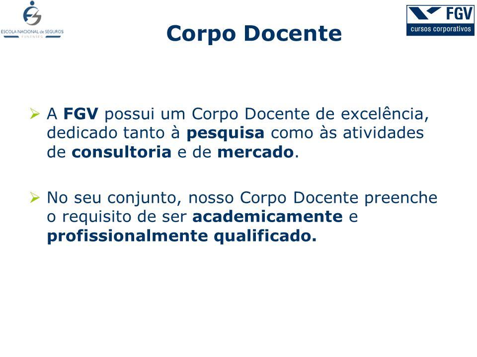 Corpo Docente A FGV possui um Corpo Docente de excelência, dedicado tanto à pesquisa como às atividades de consultoria e de mercado.