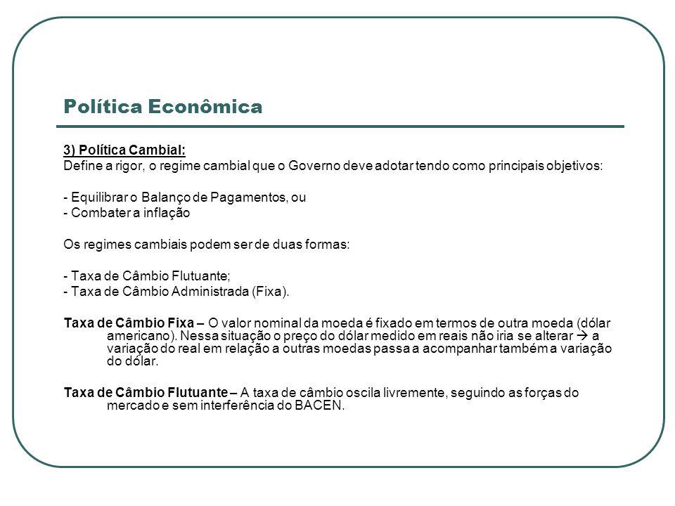 Política Econômica 3) Política Cambial: