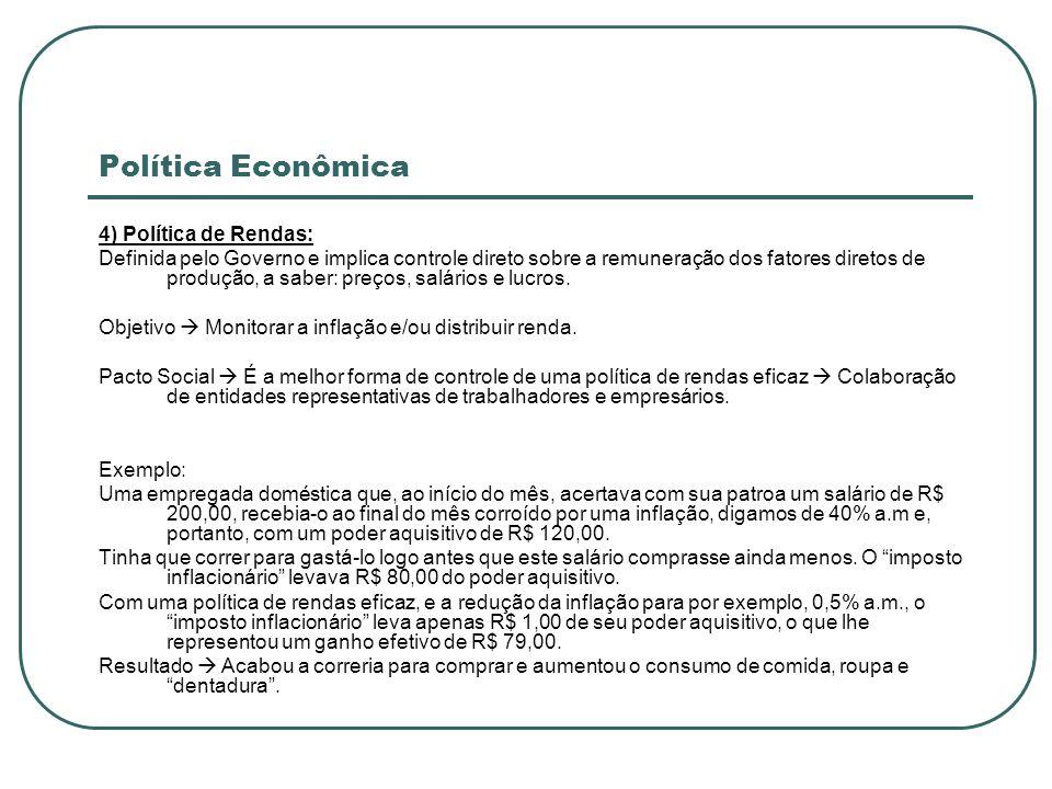 Política Econômica 4) Política de Rendas: