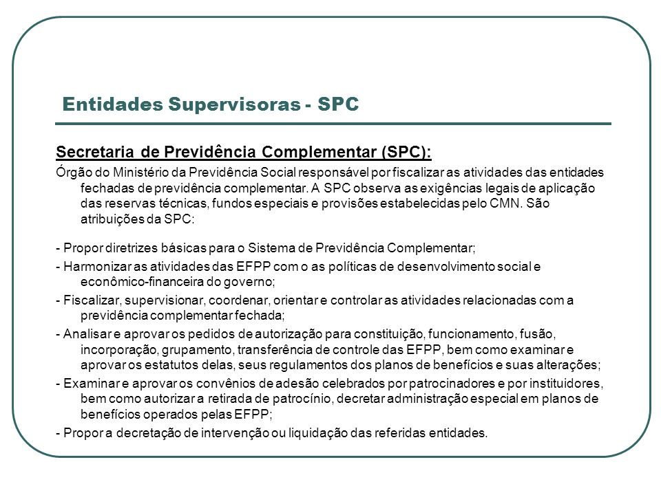 Entidades Supervisoras - SPC