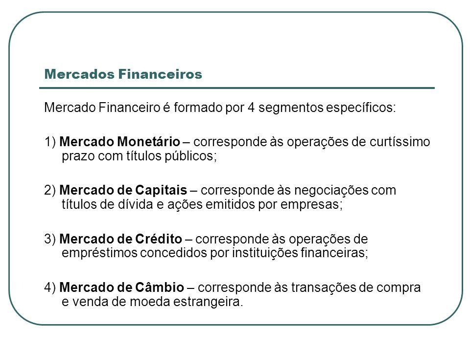Mercados Financeiros Mercado Financeiro é formado por 4 segmentos específicos: