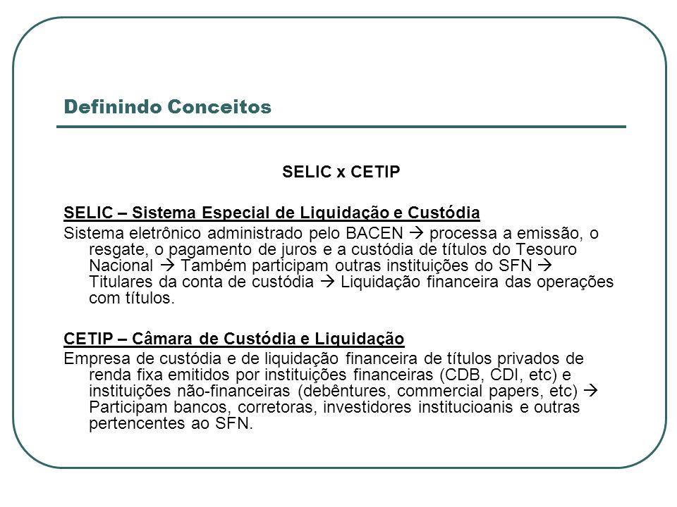 Definindo Conceitos SELIC x CETIP