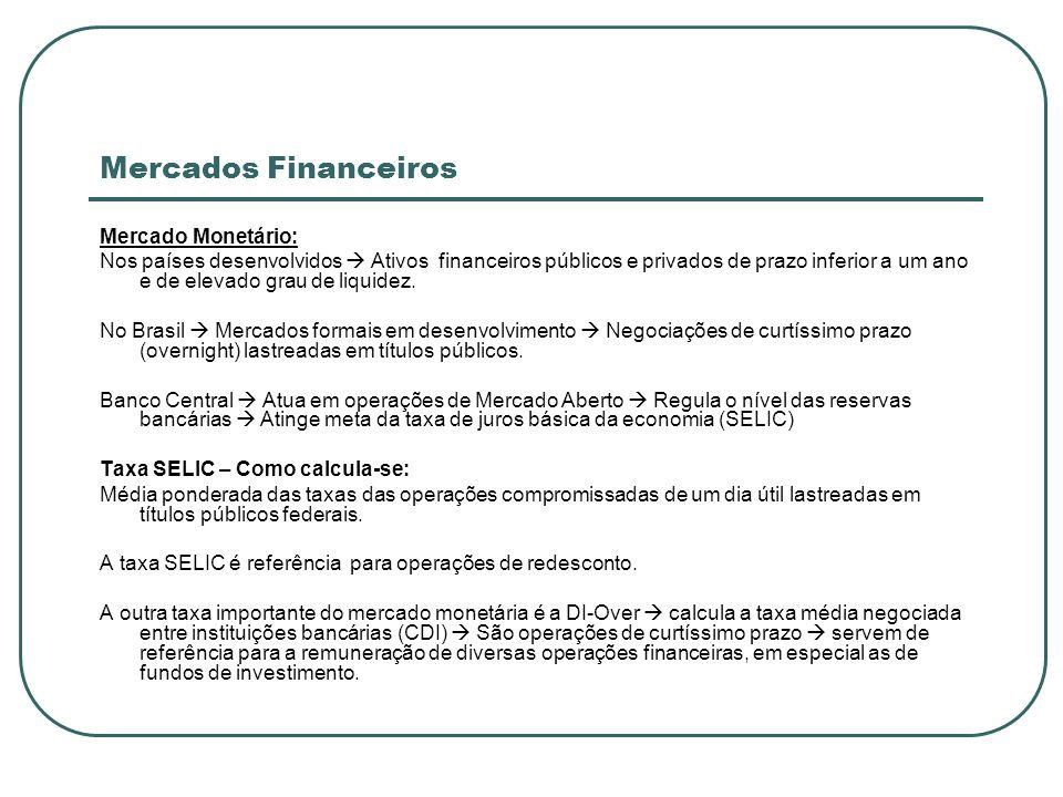 Mercados Financeiros Mercado Monetário: