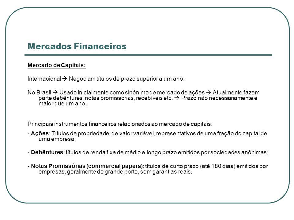 Mercados Financeiros Mercado de Capitais: