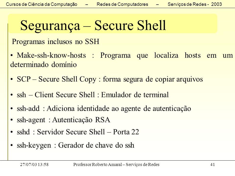 Segurança – Secure Shell