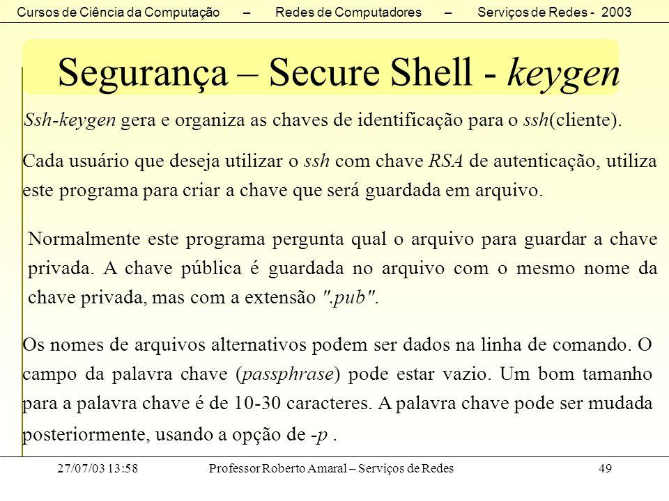 Segurança – Secure Shell - keygen