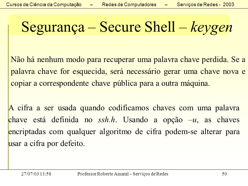 Segurança – Secure Shell – keygen