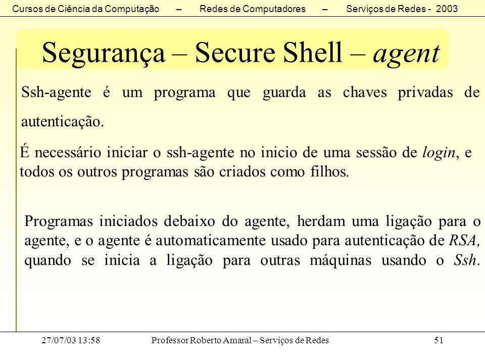 Segurança – Secure Shell – agent