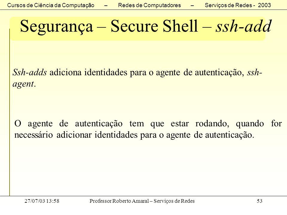 Segurança – Secure Shell – ssh-add