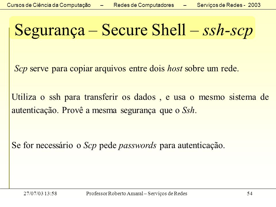 Segurança – Secure Shell – ssh-scp