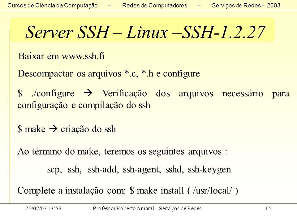 Server SSH – Linux –SSH-1.2.27