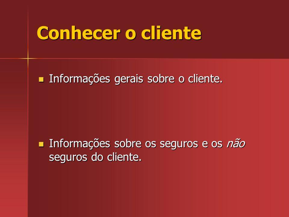 Conhecer o cliente Informações gerais sobre o cliente.