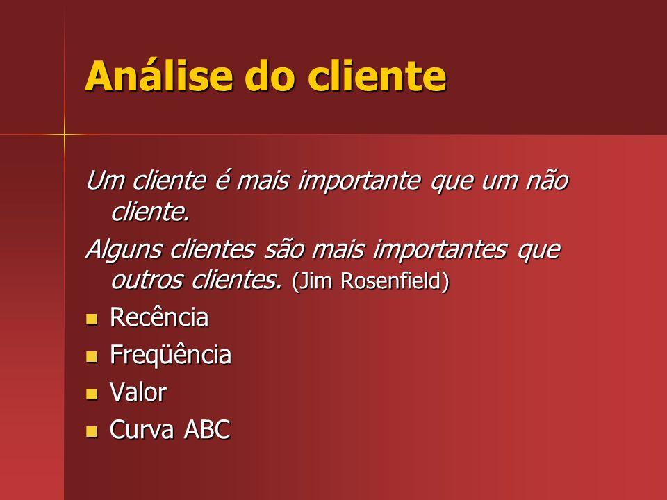 Análise do cliente Um cliente é mais importante que um não cliente.