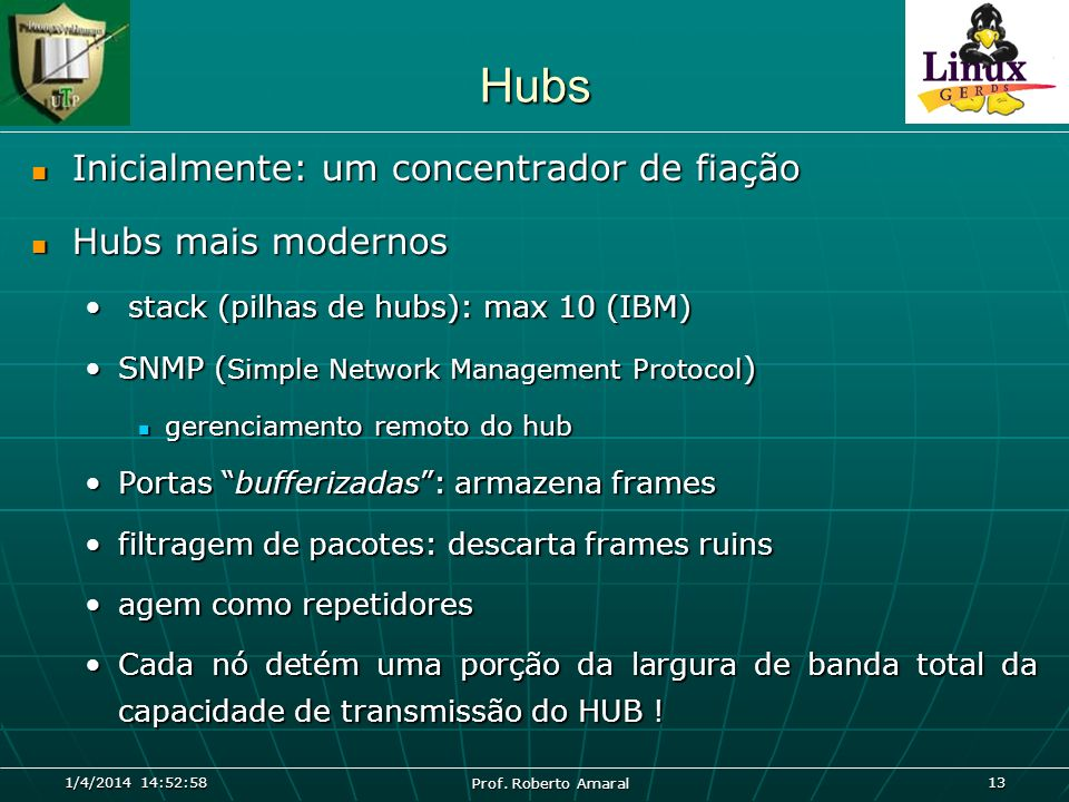 Hubs Inicialmente: um concentrador de fiação Hubs mais modernos