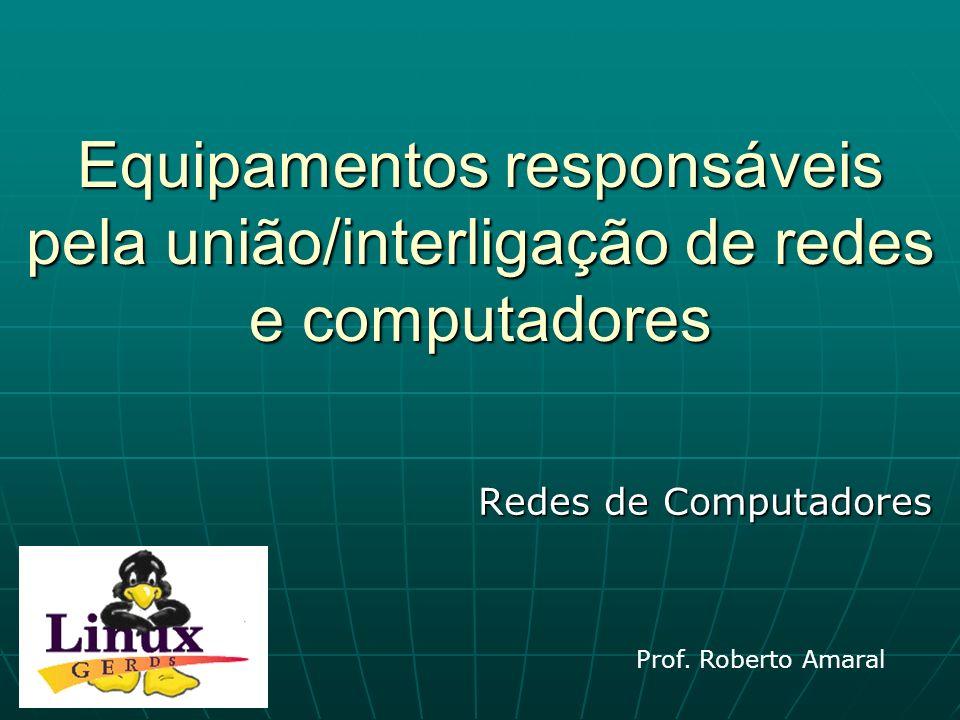 Equipamentos responsáveis pela união/interligação de redes e computadores