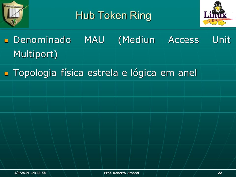 Hub Token Ring Denominado MAU (Mediun Access Unit Multiport)