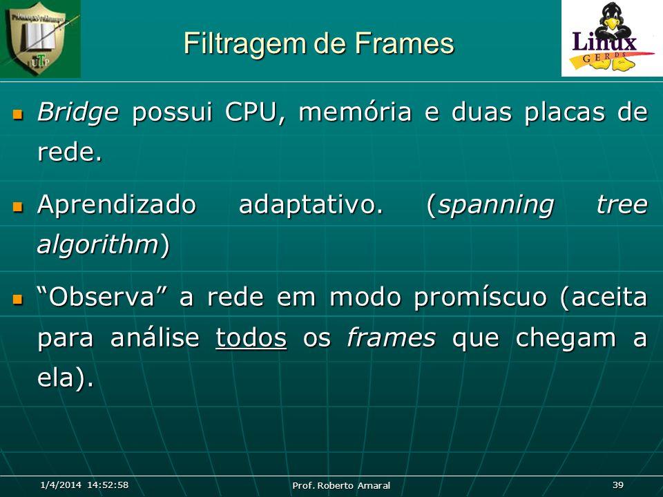 Filtragem de Frames Bridge possui CPU, memória e duas placas de rede.