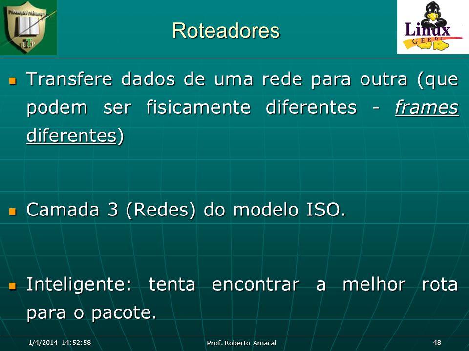 Roteadores Transfere dados de uma rede para outra (que podem ser fisicamente diferentes - frames diferentes)