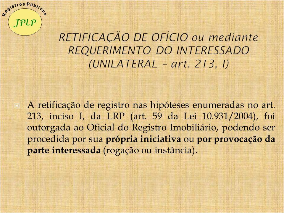 JPLP R e g i s t r o s P ú b l i c o s. RETIFICAÇÃO DE OFÍCIO ou mediante REQUERIMENTO DO INTERESSADO (UNILATERAL – art. 213, I)