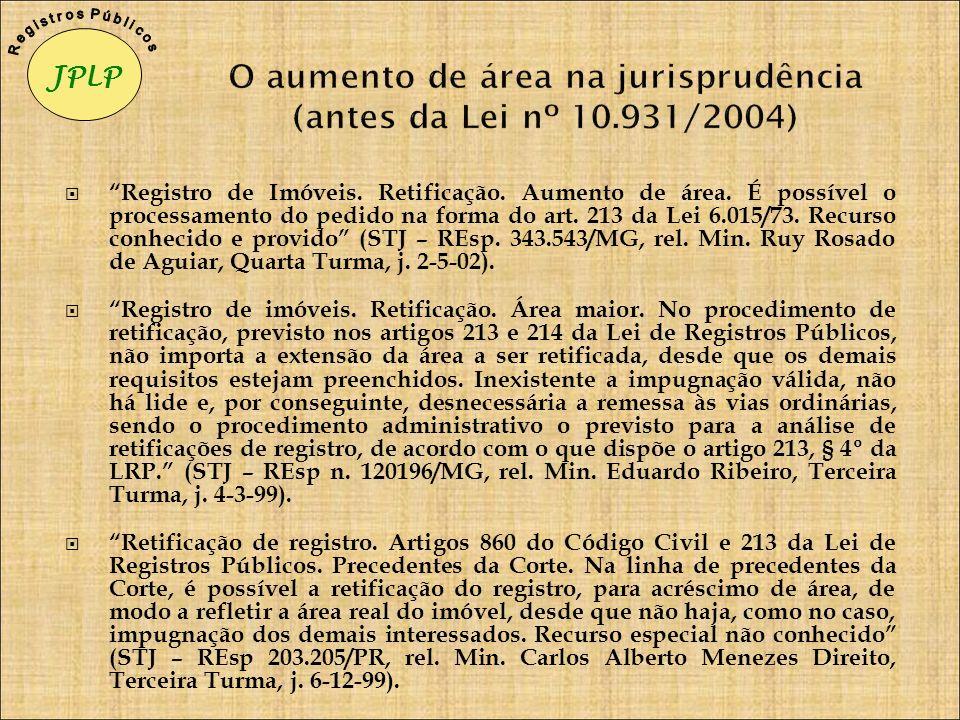 O aumento de área na jurisprudência (antes da Lei nº 10.931/2004)