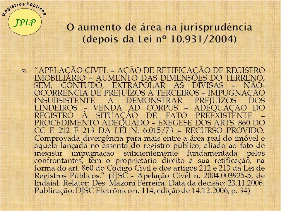 O aumento de área na jurisprudência (depois da Lei nº 10.931/2004)