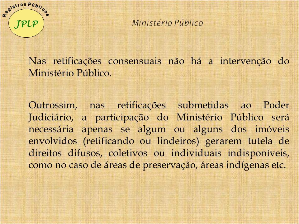 JPLP R e g i s t r o s P ú b l i c o s. Ministério Público. Nas retificações consensuais não há a intervenção do Ministério Público.