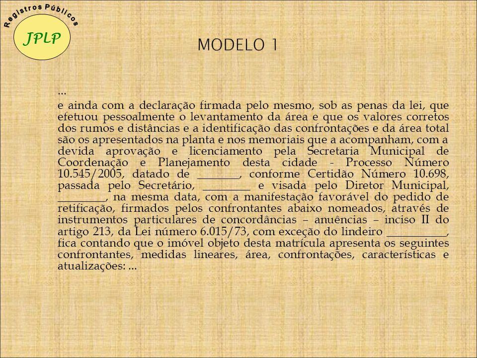 JPLP R e g i s t r o s P ú b l i c o s. MODELO 1. ...