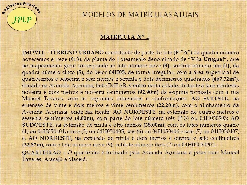 MODELOS DE MATRÍCULAS ATUAIS
