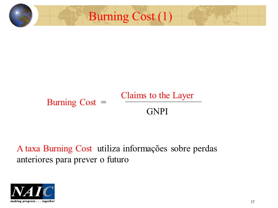 Burning Cost (1) Claims to the Layer Burning Cost = GNPI