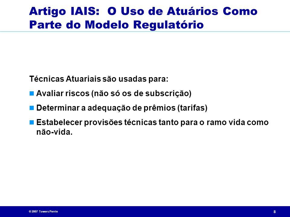 Artigo IAIS: O Uso de Atuários Como Parte do Modelo Regulatório
