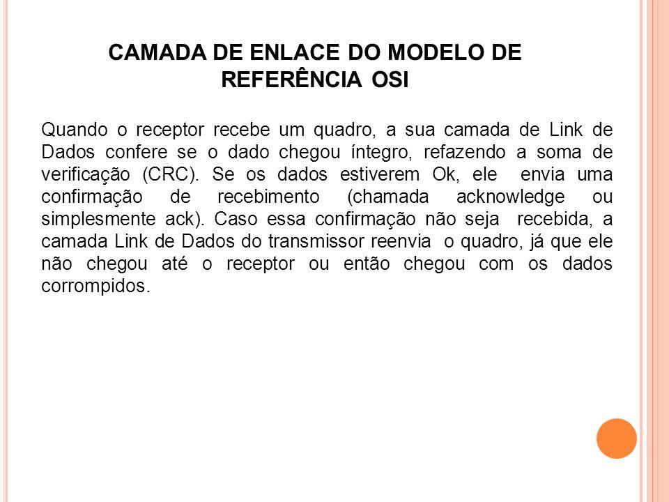 CAMADA DE ENLACE DO MODELO DE REFERÊNCIA OSI