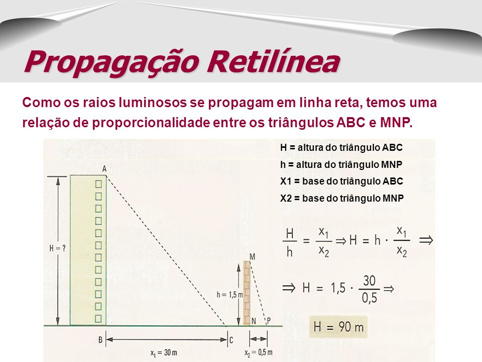 Propagação RetilíneaComo os raios luminosos se propagam em linha reta, temos uma relação de proporcionalidade entre os triângulos ABC e MNP.