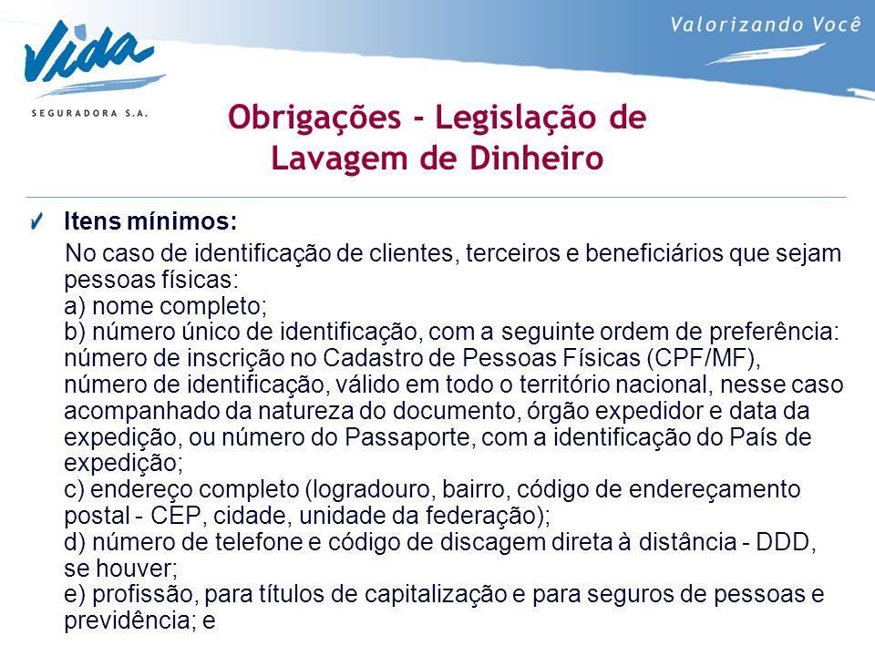 Obrigações - Legislação de Lavagem de Dinheiro