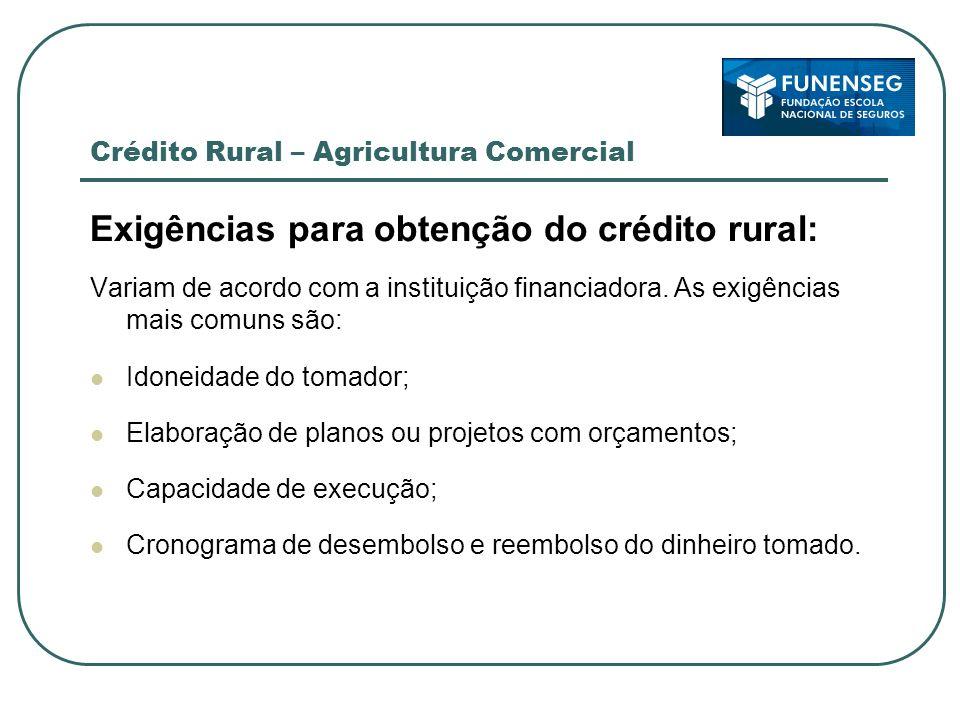 Crédito Rural – Agricultura Comercial