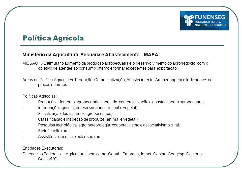 Política Agrícola Ministério da Agricultura, Pecuária e Abastecimento – MAPA: