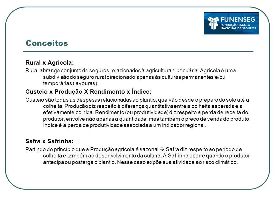 Conceitos Rural x Agrícola: Custeio x Produção X Rendimento x Índice: