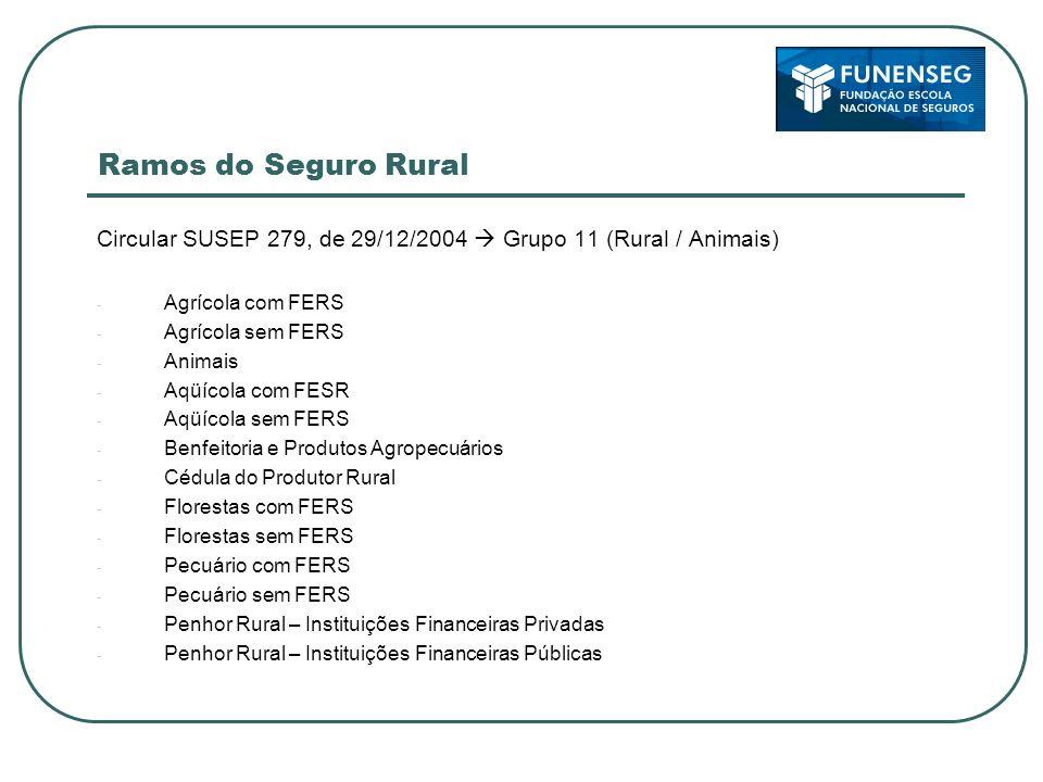 Ramos do Seguro RuralCircular SUSEP 279, de 29/12/2004  Grupo 11 (Rural / Animais) Agrícola com FERS.