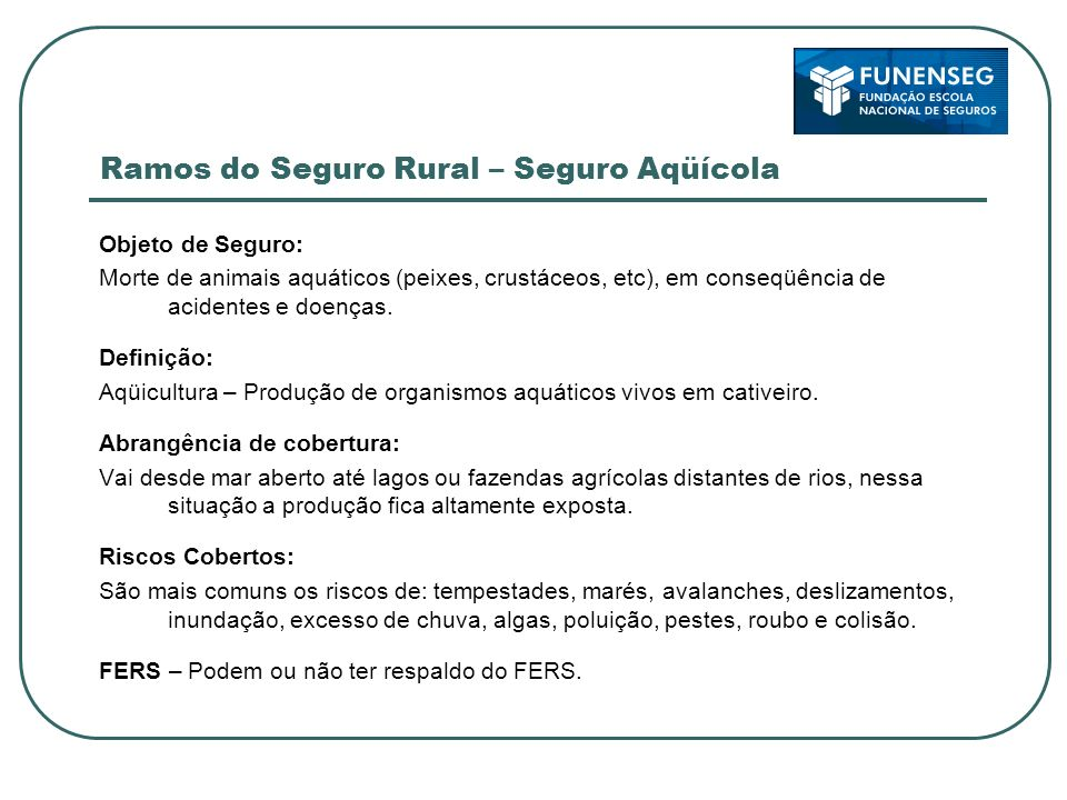 Ramos do Seguro Rural – Seguro Aqüícola
