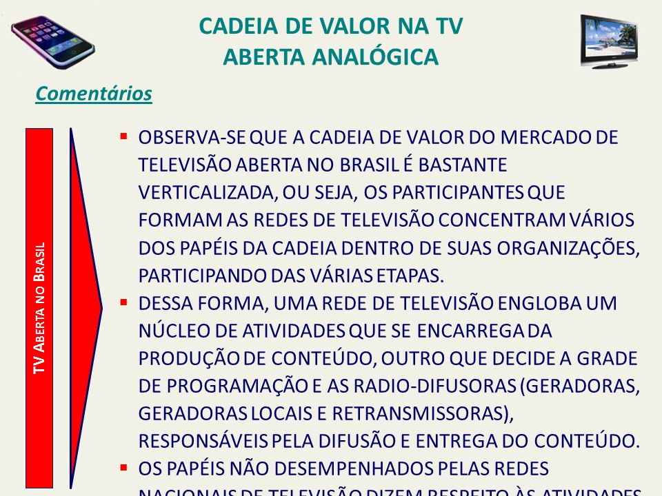 Cadeia de Valor na TV Aberta Analógica
