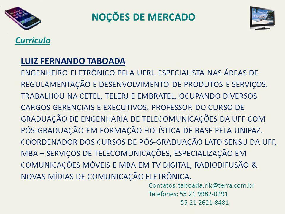 NOÇÕES DE MERCADO Currículo LUIZ FERNANDO TABOADA