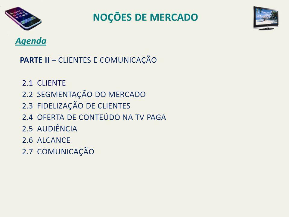 NOÇÕES DE MERCADO Agenda PARTE II – CLIENTES E COMUNICAÇÃO 2.1 CLIENTE