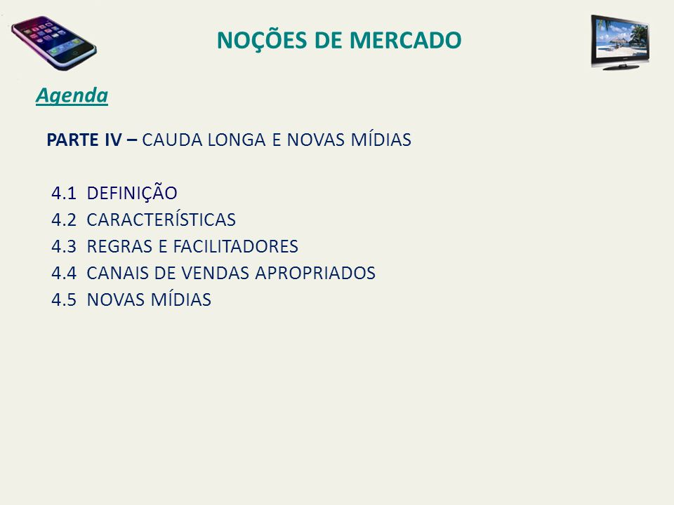 NOÇÕES DE MERCADO Agenda PARTE IV – CAUDA LONGA E NOVAS MÍDIAS
