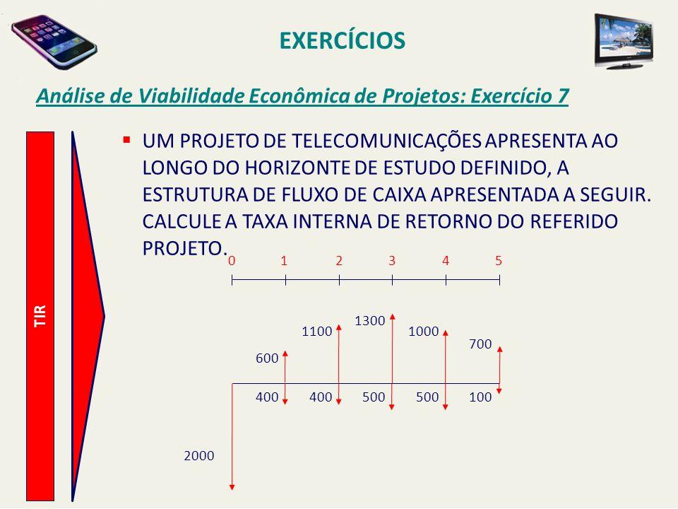 EXERCÍCIOS Análise de Viabilidade Econômica de Projetos: Exercício 7