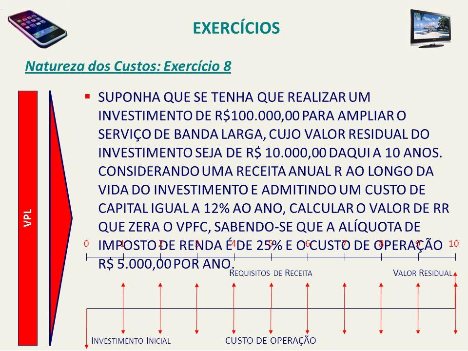 EXERCÍCIOS Natureza dos Custos: Exercício 8