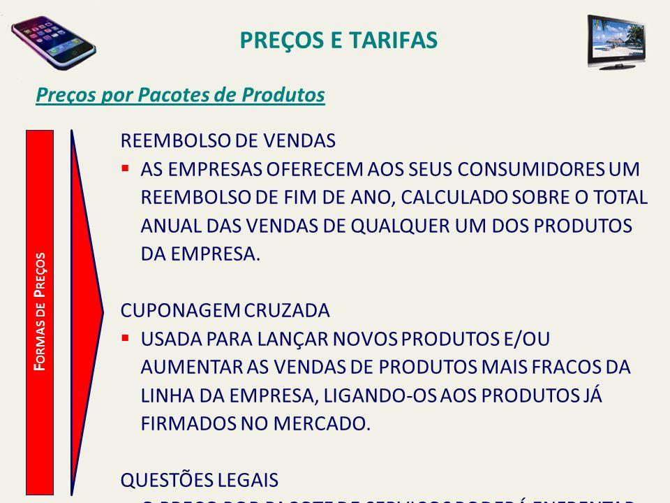 PREÇOS E TARIFAS Preços por Pacotes de Produtos REEMBOLSO DE VENDAS