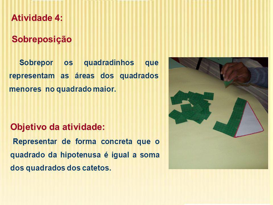 Atividade 4: Sobreposição. Sobrepor os quadradinhos que representam as áreas dos quadrados menores no quadrado maior.