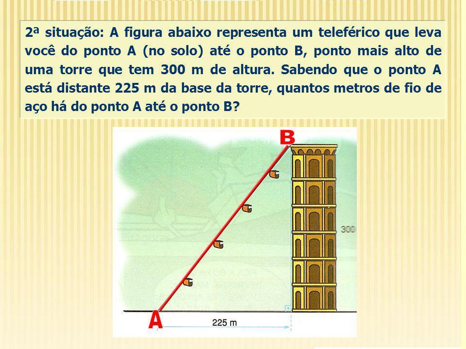 2ª situação: A figura abaixo representa um teleférico que leva você do ponto A (no solo) até o ponto B, ponto mais alto de uma torre que tem 300 m de altura. Sabendo que o ponto A está distante 225 m da base da torre, quantos metros de fio de aço há do ponto A até o ponto B