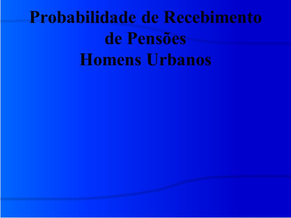 Probabilidade de Recebimento de Pensões Homens Urbanos