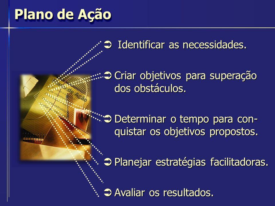 Plano de Ação Identificar as necessidades.